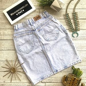 Vintage LEE denim acid wash high waisted skirt